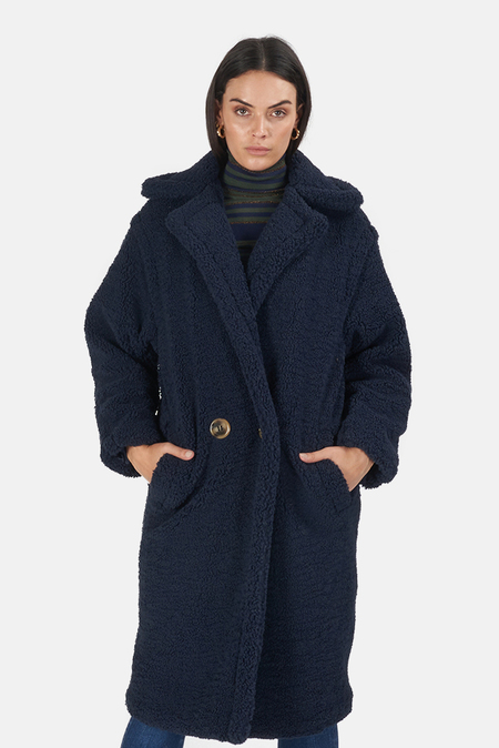 Apparis Daryna Faux Shearling Coat - Navy Blue