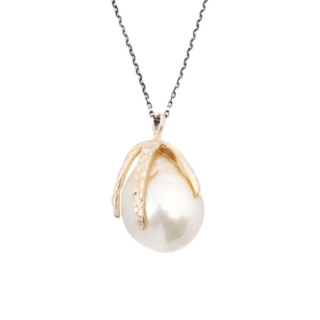 Lauren Wolf Stingray Claw Drop with White South Sea Pearl Necklace - 14k Yellow Gold