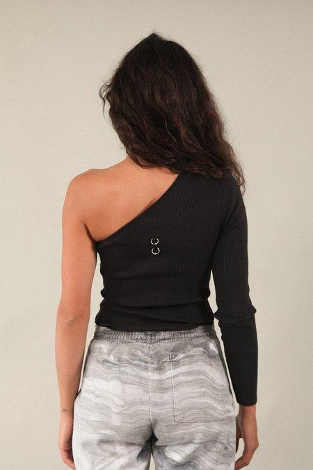 Kk Co Studio Pierced Reversible Asymmetrical Long Sleeve Rib Tee - Black