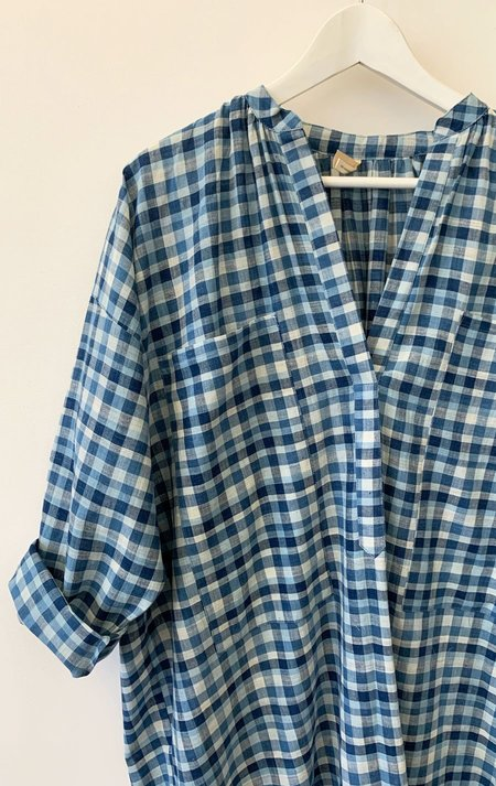 Unisex Two Pocket Caftan - Indigo Plaid