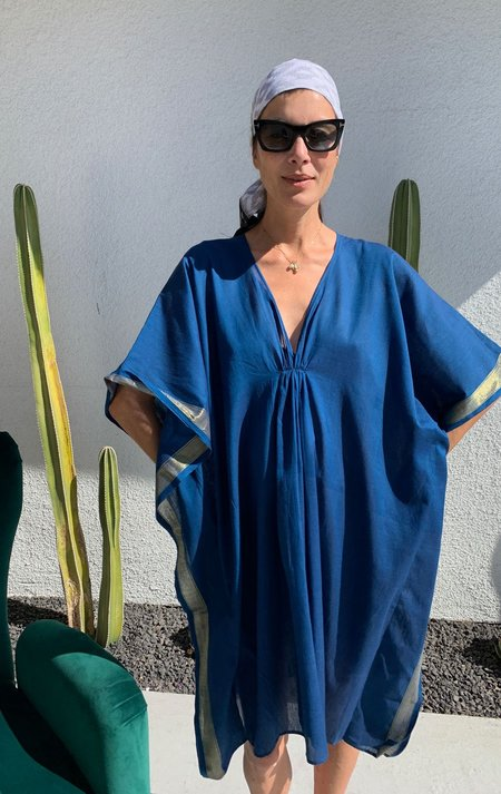 Two Medium Length Caftan With Sheen - Teal/Gold