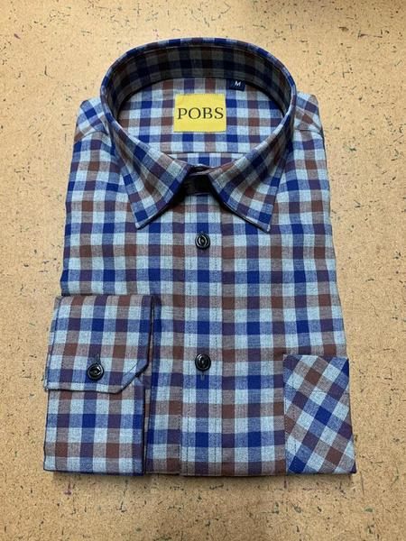 Product Of Bob Scales Shop Shirt - Blue/Brown Check