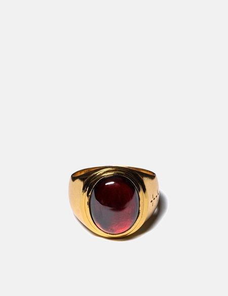 Maple Tommy Signet Ring - 14K Gold/Red Garnet