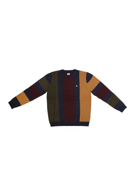 Wemoto Banett Stripe Pullover - Navy Blue