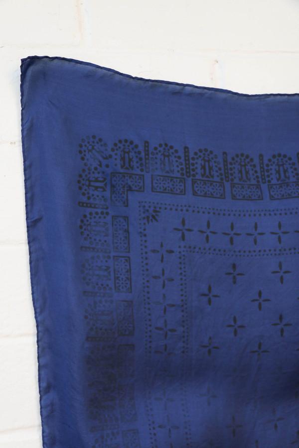 1930s Washed Silk Bandana in Navy