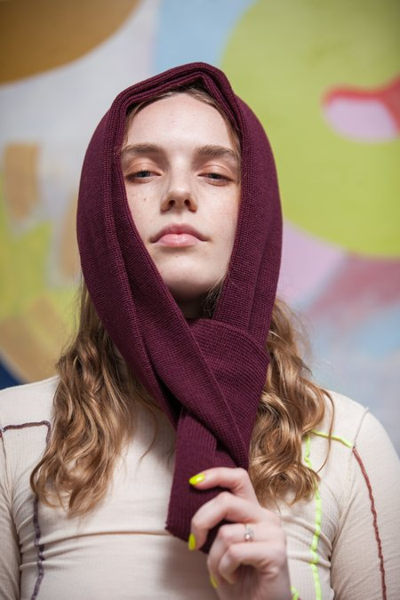 Rototo Knitted Sock Stole - Burgundy
