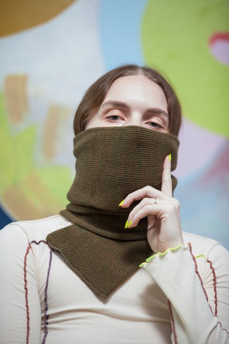 Rototo Knitted Sock Stole - Olive/Brown