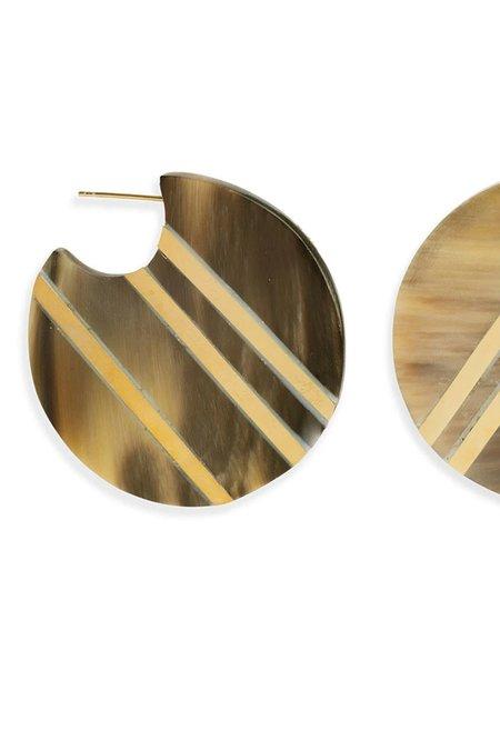 Soko Horn Stripe Circle Hoop Earrings - Brass