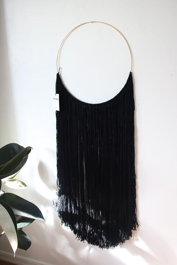 Sonadora Black Bamboo Silk Blend Polished Brass Wall Hanging