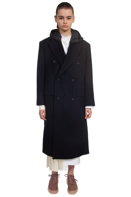 Recode Sports Layered Double Breasted Coat - Navy