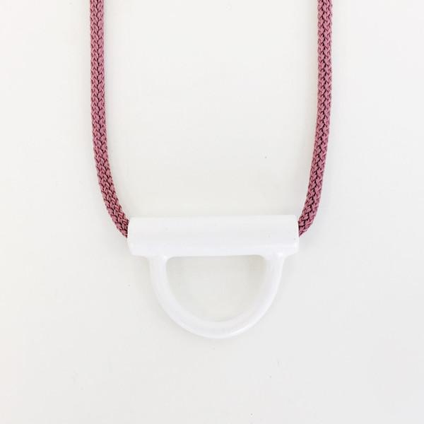 Aubrey Hornor White U-lock Necklace