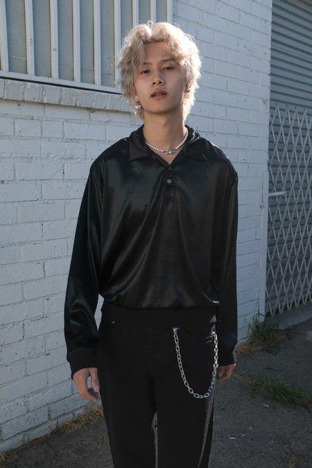 Enfants Riches Deprimes Cropped Pullover Velvet Longsleeve Polo - Black