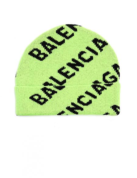 Balenciaga Wool All Over Logo Beanie - Neon Green