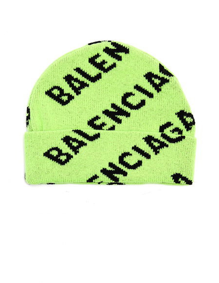 Balenciaga Wool All Over Logo Beanie - Neon Green