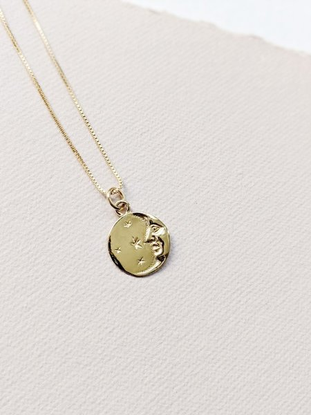 Little Gold Lucky Moon Necklace