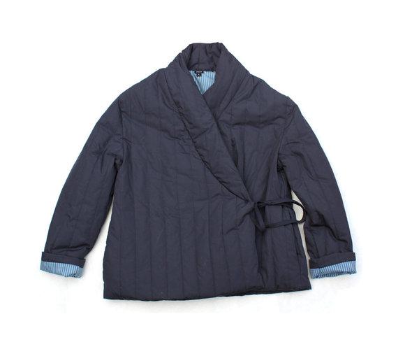 pietsie Kyoto Quilted Wrap Jacket in Navy