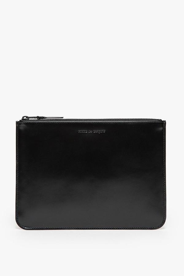 Men's Comme des Garçons Leather SA-5100VB Lg Zip Pouch - Very Black