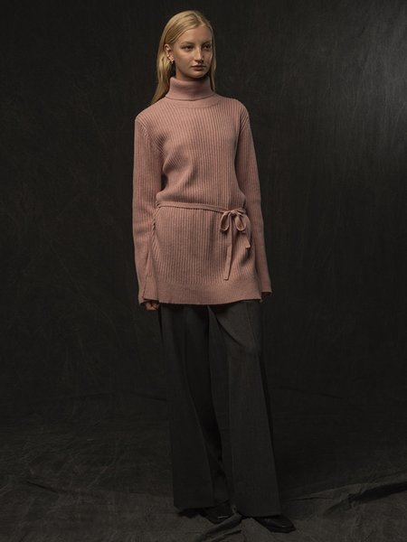 Pure Cashmere NYC Long Turtleneck Loose Fit Tunic - Heather Pink