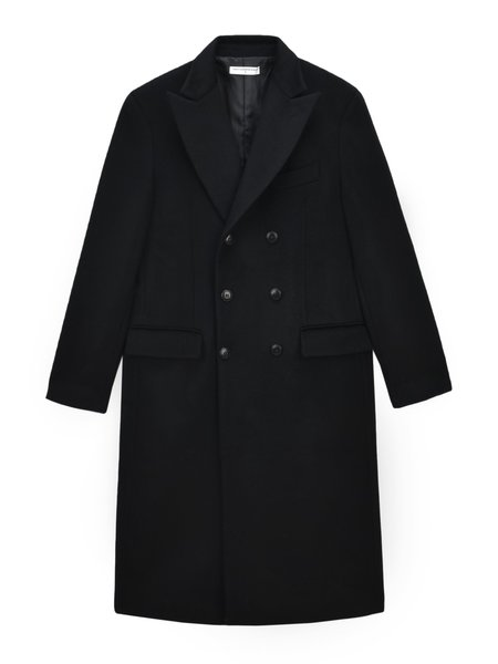 Pure Cashmere NYC Men Tailored Double Breasted Coat - Black