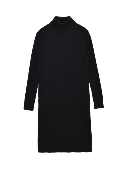 Pure Cashmere NYC Rib Turtleneck Dress - Black
