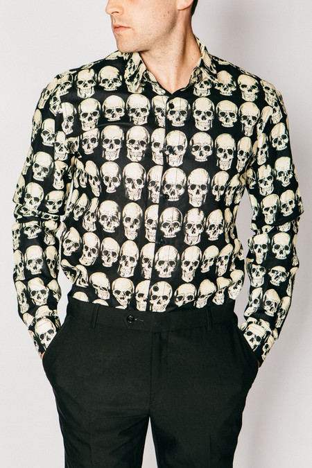 Men's Any Old Iron Skull Print Shirt
