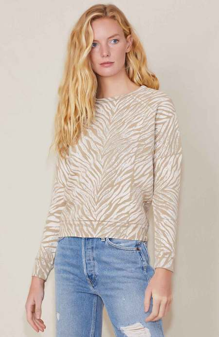 Mother Denim THE HUGGER SWEATSHIRT - WHITE STRIPES