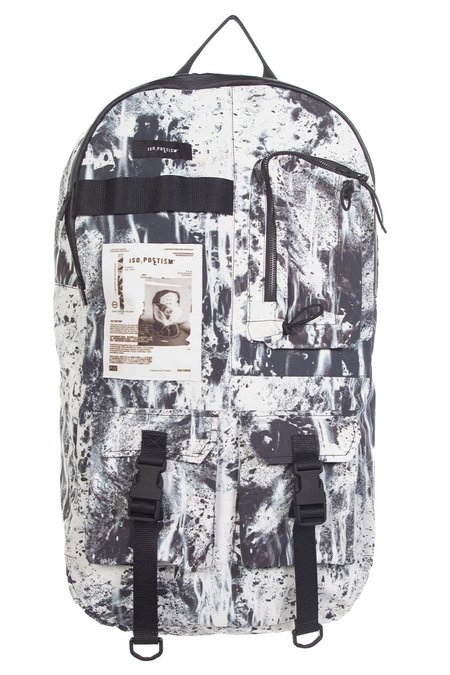 Tobias Birk Nielsen Moon Digital Print Technical Backpack - Black/White