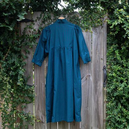 Batsheva Smock Dress - Navy Tartan