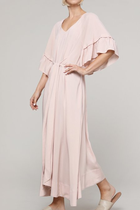 a mente Flare Sleeve Tie Long Dress - Rose