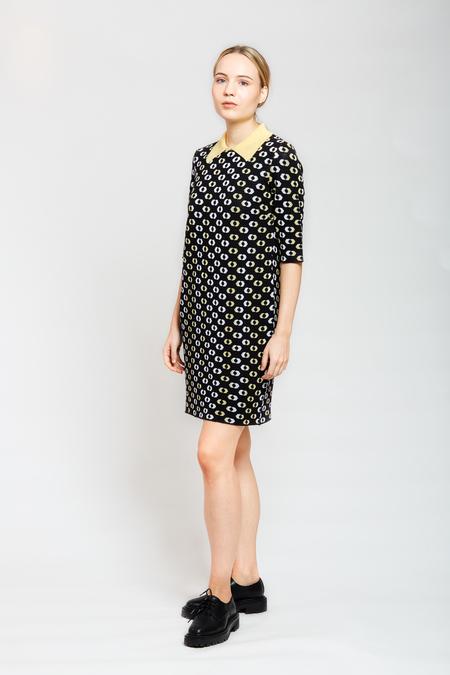 MARIO Printed collar Dress - Black/White/Yellow