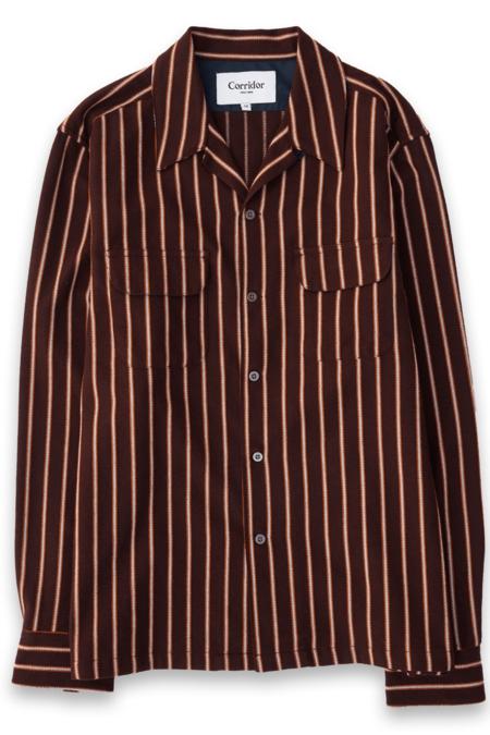 Corridor Twisted Stripe Flannel Shirt - Raisin