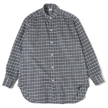 KAPTAIN SUNSHINE Cotton Flannel Stand Collar Shirt - GRAY PLAID