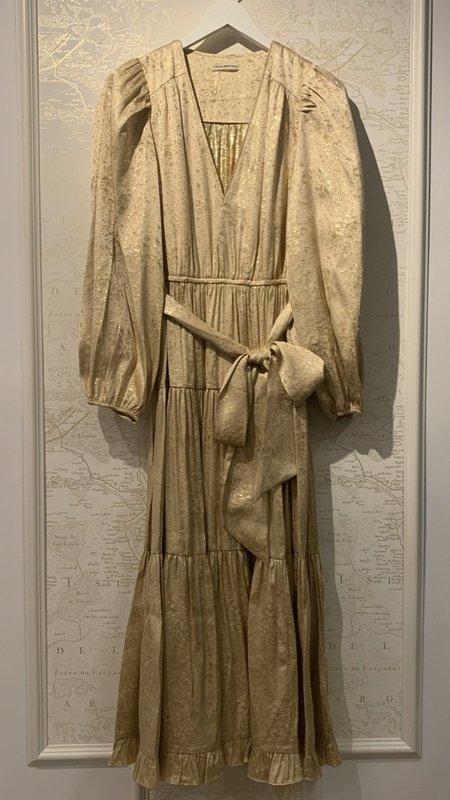 Ulla Johnson Helena Metallic Silk Midi Tiered Dress