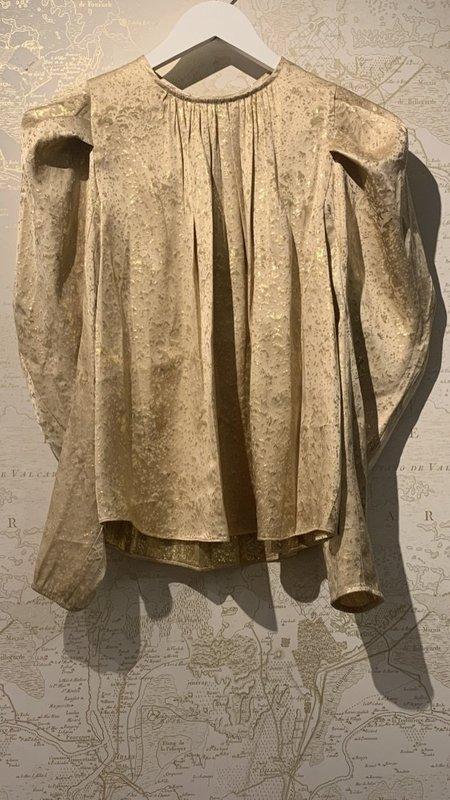 Ulla Johnson Ivy Gilded Silk Pleated Sleeve Blouse