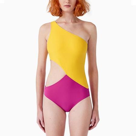 Araks Elmar Asymetrical Cutout 1 Piece Swimsuit - Pollen/Fuschia