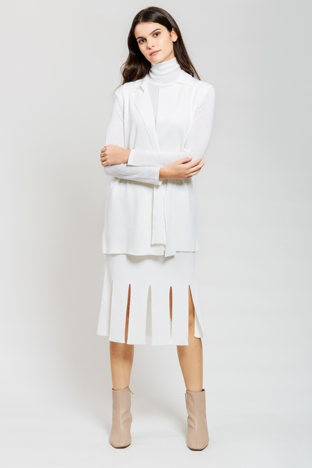 ADAM MAR Vest with Lapel and Belt - White