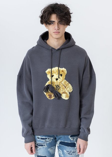 we11done Embroidered Teddy Hoodie - Charcoal