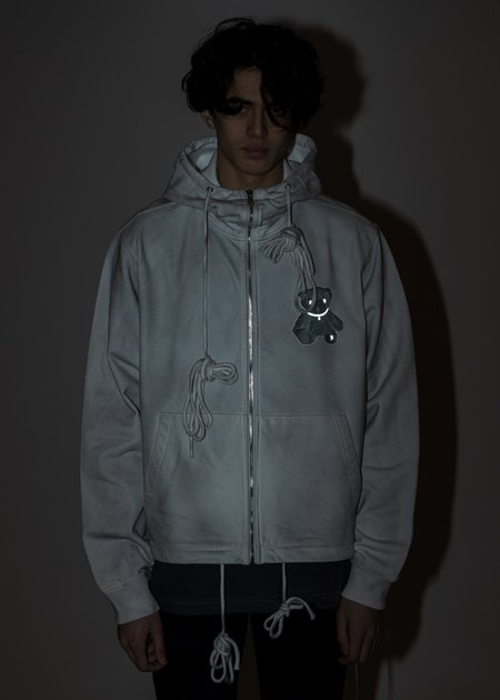 we11done Pearl Necklace Teddy Zip-Up Reflect Hoodie - White
