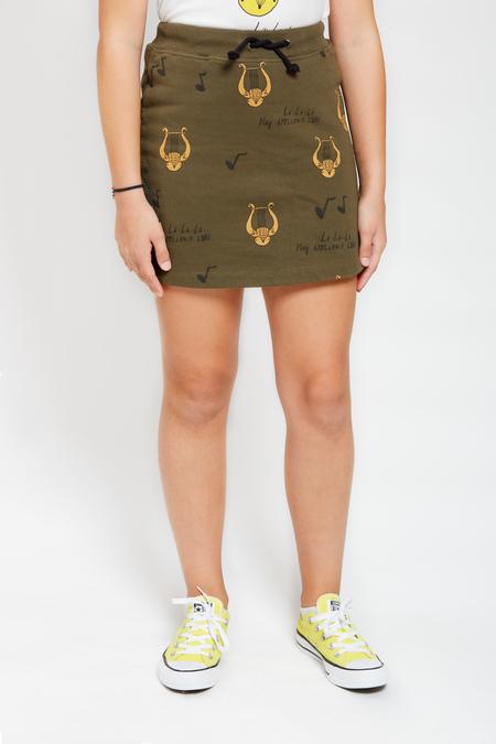 Kids ARTEMIS & APOLLON Allover Lyre Mini Skirt - Khaki