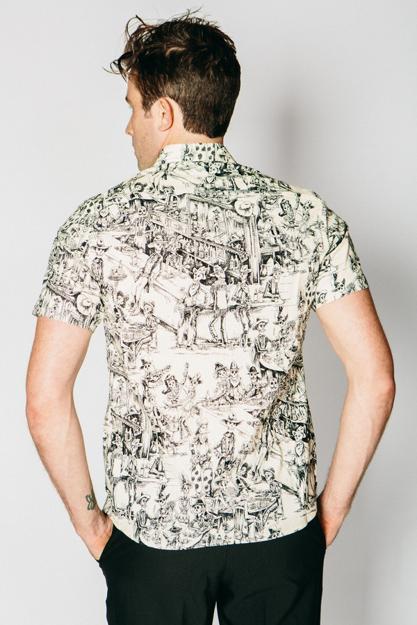 Men's Any Old Iron Skeleton Saloon Short-Sleeve Button Up