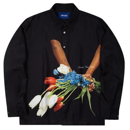 AWAKE Flowers Silk Shirt - Black