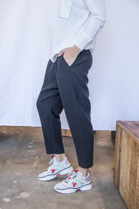 Evam Eva Cotton and Wool Dropcrotch Trousers - Black