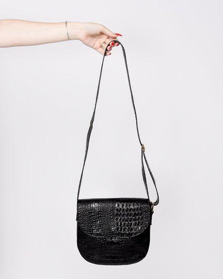 Rita Row Gala Embossed Croc Leather Bag - Black