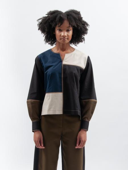 ALOJA Cotton Bodice Colour Block Blouse
