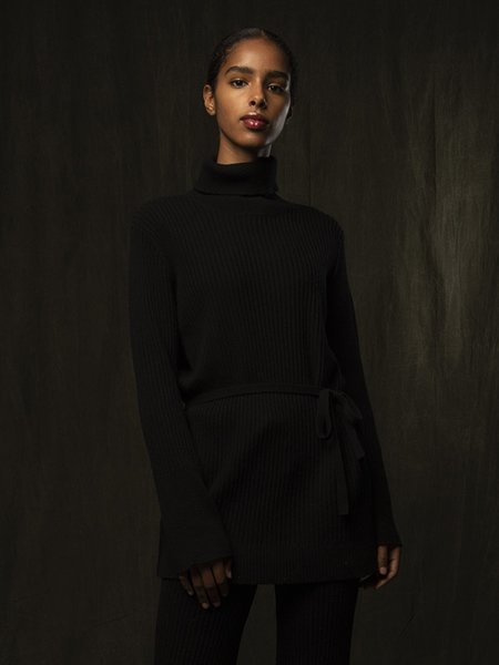 PURE CASHMERE NYC Long Turtleneck Loose Fit Tunic - Black