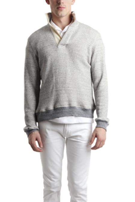 blue&Cream Pop Collar Sweater - blue grey