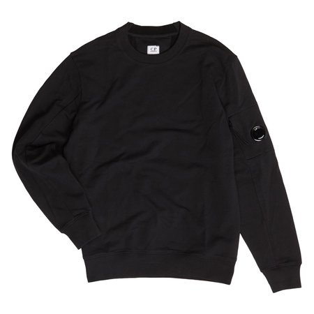 C.P. Company Diagonal Fleece Lens Crew Sweater - Black