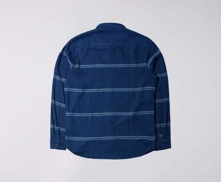 Edwin Striped Labour Shirt - Indigo Blue