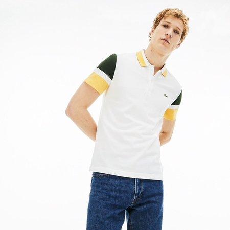 LACOSTE Slim Fit Colourblock Stretch Pima Piqué Polo Shirt - White/Khaki Green/Yellow