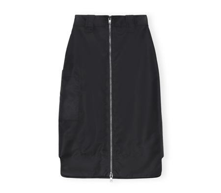 Ganni Recycled Nylon Zip Up Cargo Skirt - Black